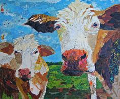 two cows in a torn paper collage piece