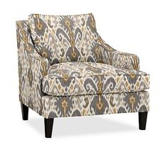 Landon Upholstered Armchair, Down Blend Wrapped Cushions, Ikat Geo Gray
