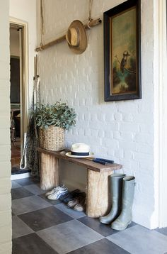 Old Schoolmaster's House in Frankie Spaces | Love the rustic bench and probably easy to make!
