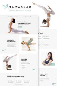 Namaskar Yoga WordPress Theme - Agency Website Design - Help you design professional website - Namaskar Yoga WordPress Theme Yoga Websites, Fitness Websites, Layout Design, Web Layout, Web Design Quotes, Web Design Tips, Blog Design, Design Design, Design Ideas