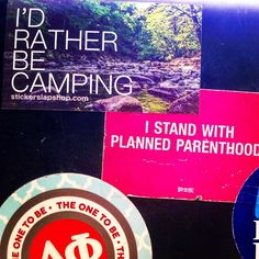 "@yourgurlrayray uses stickers to proudly advocate what she believes in! And they make her computer case look pretty rad too! $1 ""I'd Rather Be Camping"" sticker available now link in bio!  #girlpower #girl #woman #women #advocate #activist #plannedpregnancy #camping #nature #hiking #gymflow #workout #mountains #climb #river #water #computer #mac #apple #pink #vsco #vscocam #instacool #instadaily #sticker #stickers #stickerslap #stickerslaps"