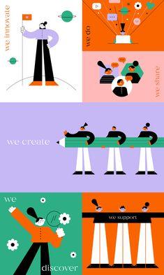 Teamwork illustrations on Behance People Illustration, Business Illustration, Flat Illustration, Character Illustration, Graphic Design Illustration, Digital Illustration, Design Thinking, Startup, New Wall
