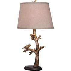 Design Craft Greatwood Perched Birds Bronze Finish Artistic Sculpture... ($77) ❤ liked on Polyvore featuring home, lighting, table lamps, brown, colored lights, tree branch table lamp, brown shade, bird table lamp and fabric shade