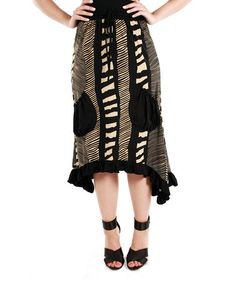 Loving this Beige & Black Abstract Sidetail Skirt on #zulily! #zulilyfinds
