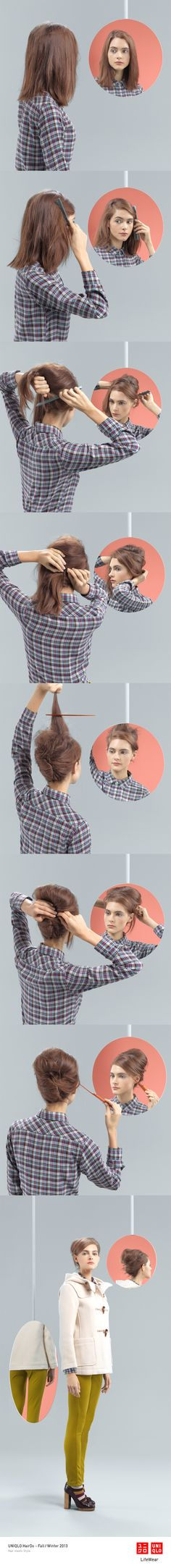 """THE SIDE BEEHIVE"" : A cotton flannel shirt works well with this modern take on a classic hair style. Click on the image for DIY instructions! #UpDo #Hair #Hairstyle #DIY #UNIQLO #HairDo"