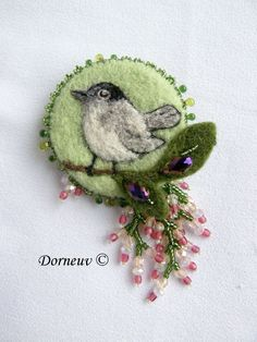 Fauvette 65E felt and bead embroidery brooch