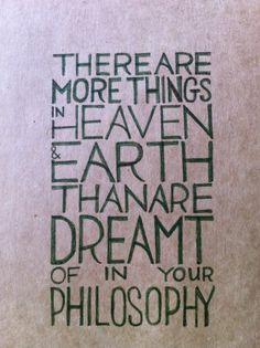Hamlet's words to Horatio...