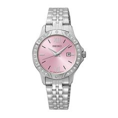 Ladies' Seiko Crystal Accent Watch with Pink Dial (Model: SUR863)