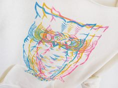 Love the owl, love the colors! CMYK Owls HAND STENCILED Deep Scoop Neck Heather by twostringjane