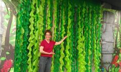 Vines made from plastic tablecloths.