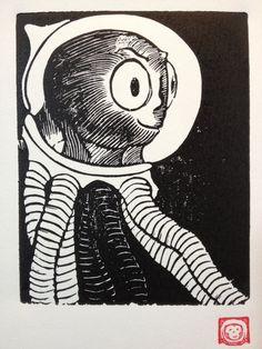 R Retro Science Fiction Alphabet Letter Octonaut by Monkeynaut, $15.00