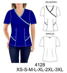 Delantales Scrubs Pattern, Scrubs Outfit, Corporate Uniforms, Medical Uniforms, Medical Scrubs, Blouse Patterns, Sport Fashion, Plus Size, Sewing