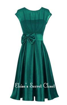 HEPBURN Emerald Green Fuchsia 50's Vintage Inspired Prom Evening Bridesmaid Dress