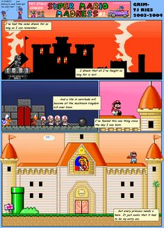 The first issue of the legendary Super Mario Madness, by GRiM see the rest of them at http://www.superluigibros.com/super-mario-madness-issue-1-by-grim Mario Comics, Super Mario, Madness, Rest, Comics