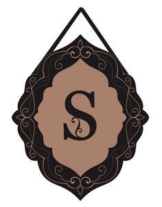 S - Classic Monogram Burlap Door Hanger