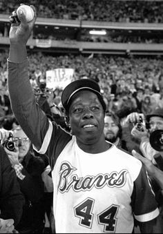 April Hank Aaron of the Atlanta Braves hits his career homerun, breaking the record set by Babe Ruth in No asterisks needed on this baseball in the HOF. But Football, Braves Baseball, Sports Baseball, Baseball Players, Baseball Records, Basketball, Baseball Shoes, Dallas Sports, Mlb Players