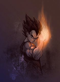 DB inspired art Vegeta illustration and painting style reference Dragonball Anime, Dragonball Super, Dragon Ball Gt, Anime Kunst, Anime Art, Goku E Vegeta, Son Goku, Dragonball Evolution, Digital Foto