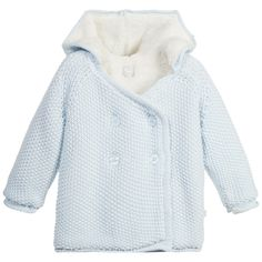 Pale Blue Knitted Cotton Pram Coat, The Little Tailor 0-12mths