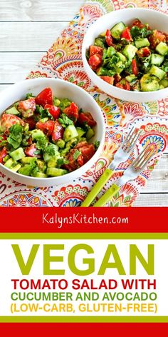 I love this Vegan Tomato Salad with Cucumber and Avocado, and it's chopped cilantro and lime vinaigrette dressing that makes this one of my favorites for a summer tomato salad! [found on kalynskitchen.com] #VeganTomatoSalad #VeganSalad #TomatoCucumberAvocadoSalad Tostada Recipes, Tomato Salad Recipes, Best Salad Recipes, Cucumber Recipes, Salad Dressing Recipes, Delicious Vegan Recipes, Healthy Recipes, Healthy Tuna, Meatless Recipes