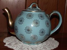 Hall Vintage French Baby Blue Teapot with Gold by NanasCoolStuff, $22.00