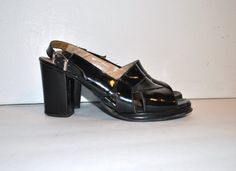 60s platforms // black patent leather // vintage by onefortynine, $48.00