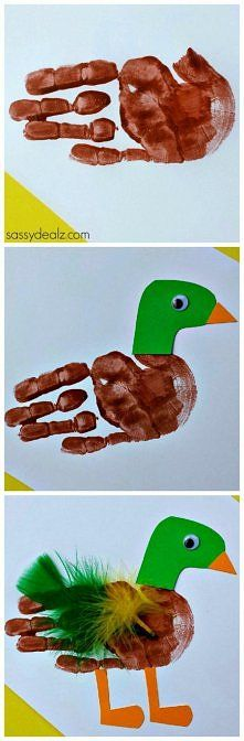 Duck Handprint Craft for Kids DIY Kids art project. Kids Crafts, Daycare Crafts, Toddler Crafts, Crafts To Do, Projects For Kids, Art Projects, Craft Kids, Daycare Rooms, Santa Crafts