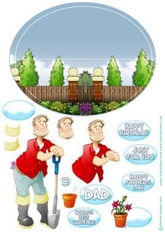 Gardening Dude Wobble Card  on Craftsuprint designed by Gordon Fraser - Gardening Dude enjoys a nice cup of tea after a hard days work! Easy to make Wobble card, just cut out the main design, score across the central guide line, add the gardener and any decoupage and sentiments you want!  - Now available for download!