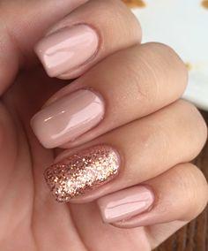 Fails Design Gel French Pink Glitter Concepts For 2019 - Nails Blush Nails, Pink Gel Nails, Rose Gold Nails, Shellac Nails, Nail Manicure, Vernis Rose Gold, Nail Rose, Wedding Day Nails, Graduation Nails