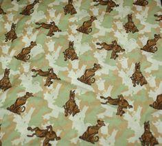 Scooby Doo Tan 3 yards HTF Cotton Fabric  OOP Camo Camouflage  #ScoobyDoo