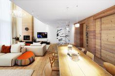 Vcelém interiéru jsou použity masivní dřevo, přírodní silikátové omítky, dřevěné akamenné podlahy (Trachyte aZolonite). Doplňuje je bíle lakovaná ocel (schodiště, knihovna apod.) aúsporné osvětlení systému Viabizzuno. Jídelna je umístěna pod galerií ukuchyně. Řada posuvných dveří vobou podlažích umožňuje dát celému prostoru větší volnost asvětlo. (1)