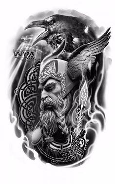 Thor Tattoo, Norse Tattoo, Celtic Tattoos, Viking Tattoo Sleeve, Full Sleeve Tattoos, Warrior Tattoo Sleeve, Arte Viking, Viking Art, Viking Warrior Tattoos