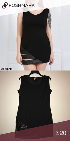 """PU Leather Bodycon Dress Brand New! PU Leather Bodycon Dress #D028 Availability: 2  Size: 2X Bust: 42.91"""" Waist: 38.58"""" Hips: 42.91"""" Shoulder Length: 15.75"""" Length: 34.65""""  Color: Black Material: Polyester  Silhouette: Sheath  Dress Length: Mini Sleeve Length: Sleeveless  Neckline: Scoop Neck Style: Sexy & Club Embellishment: Hollow Out Season: Summer Pattern Type: Patchwork Dresses Mini"""