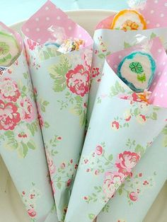 Scrapbook paper party bags/cones. Perfect to customize to any theme.