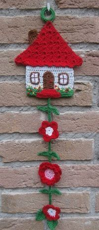 Crochet house wall hanging