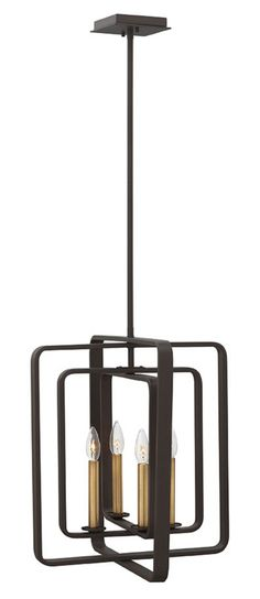 Features:  -Quentin collection.  -Finish: Buckeye bronze.  -Bulb type: Candelabra.  Product Type: -Foyer pendant.  Style: -Contemporary.  Shade Material: -Metal.  Finish: -Buckeye bronze.  Material: -
