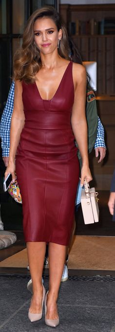 Who made Jessica Alba's jewelry, nude pumps, red leather dress, and pink…