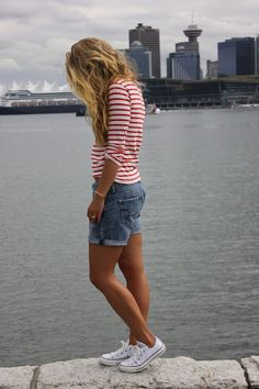 Striped shirt, cuffed shorts, converse