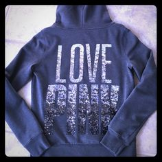 ✨PINK by Victoria Secret hoodie PINK brand hoodie.  Charcoal gray with silver sequin dog logo on front and Love Pink written in sequins across back.  Wore this one time - excellent condition. PINK Victoria's Secret Tops Sweatshirts & Hoodies