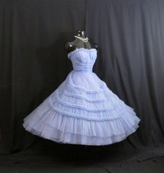 Vintage 1950's 50s STRAPLESS Emma Domb Bombshell Periwinkle Blue Tulle Party Prom WEDDING Dress Gown by VintageVortex on Etsy https://www.etsy.com/listing/212259745/vintage-1950s-50s-strapless-emma-domb