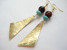 Handmade Long Earrings-Gold Bronze Hammered by AnnaRecycle on Etsy