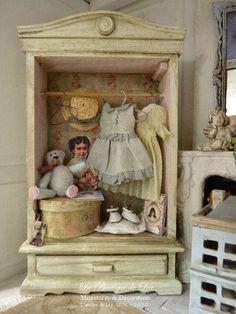 OOAK Romantic wardrobe Distressed Gustavian gray by AtelierdeLea