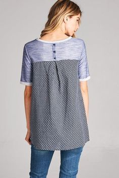 American Made Women's Top in Navy with Decorative Buttons Back
