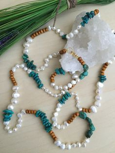 Long Turquoise and Seed bead necklace White and Gold wrap bracelet adjustable length Boho Gypsy Style Layering skinny necklace raw gemstone - jewelry necklace Wood Necklace, Seed Bead Necklace, Collar Necklace, Tassel Necklace, Pendant Necklace, Disc Necklace, Strand Bracelet, Pearl Jewelry, Beaded Jewelry