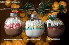 Hot Cocoa Mix Ornament Varieties DIY What a cute idea for a small gift!