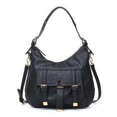 Urban Expressions Sundance Handbag - Black vegan leather tote bag on sale at BagMadness.com