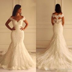 2015 Hot Sale Mermaid Wedding Dresses Vintage Lace Appliques Bridal Gowns V Neck Off The Shoulder Hollow Back Custom Made Brides Wear 2016 Wedding Ball Gowns Wedding Dreses From Lovewedding888, $104.72| Dhgate.Com