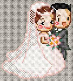 Married couple stitch pattern Fuse Bead Patterns, Perler Patterns, Beading Patterns, Cross Stitching, Cross Stitch Embroidery, Cross Stitch Patterns, Motifs Perler, Wedding Cross Stitch, Cross Stitch Freebies