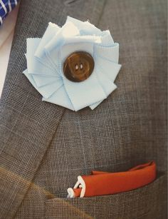 Ribbon & Button Boutonniere