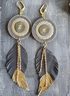 Grey leather earrings. Feather earrings. Long boho earrings.