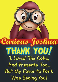 Curious George Thank You Card Curious George by PrintableRainbows